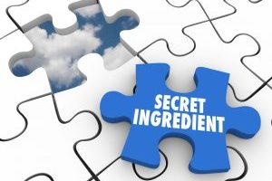 Secret Ingredient words on a puzzle piece needed to complete the recipe or important information that is classified or confidential